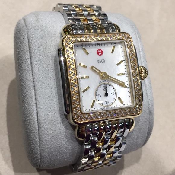 684cc38b3981 Michele Accessories | Deco 16 Twotone Diamond Dial Watch | Poshmark